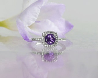 Custom Birthstone Ring, Custom Birthstone Jewelry, Amethyst, Natural Amethyst, February Birthstone, Amethyst Sterling Ring
