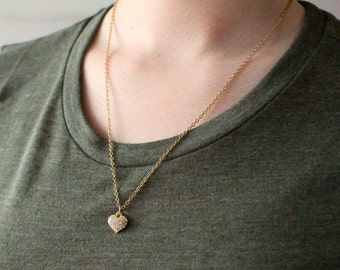 Heart Necklace - Gold Heart Necklace - Valentine's Day Gift - Gift for Girlfriend - Gift for Wife - Valentine's Day
