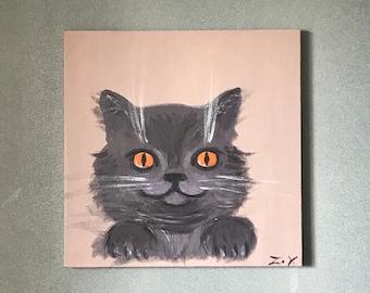 British Gray Shorthair Cat, Kitty, Kitten, Pet Portrait, acrylic painting on canvas, Modern art, Wall art, Fine Art, 40x40 cm.