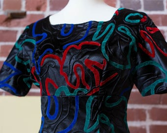 Stunning Satin Piped Dress with Abstract Velvet Allover Print