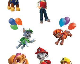 Paw Patrol Birthday Printouts Clipart Images INSTANT DOWNLOAD Printable Centerpieces Decorations Chase Marshall Rubble Skye Rocky Zuma Ryder