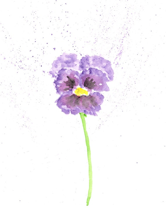 Watercolor flower painting flower art pansy flower abstract for Abstract watercolour flowers