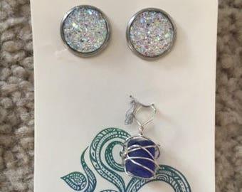 Earrings and sea glass pendant