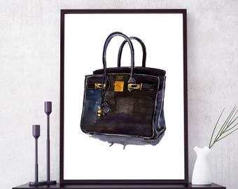 Hermes Birkin Handbag. Hermes Handbag print. Hermes Watercolor Art. Girl Room decor. Fashion Wall Art. Fashion print. Hermes Birkin Wall Art