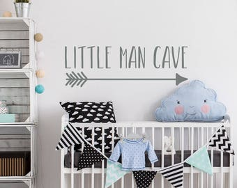 Wall Decal Kids Little Man Cave Nursery Decor- Little Man Cave with Arrow Vinyl Wall Decal for Boys Room Decor- Kids Room Wall Decal #206