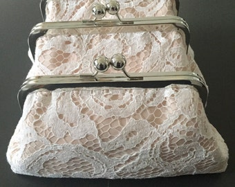 Swirl Ivory Lace over Nude Clutch