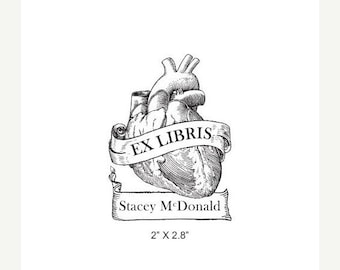 Mothers Day Sale Anatomical Heart Antique Banner Ex Libris Bookplate Rubber Stamp K11
