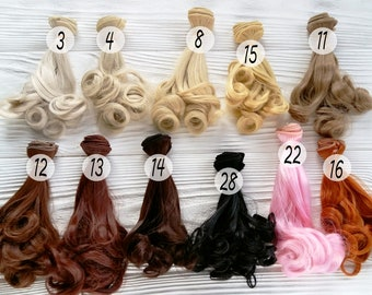15 cm( 6 inches). Hair for dolls. Hair with curly tips.  Synthetical hair. Doll's hair. Hair for doll wigs. Art dolls. Synthetic doll hair