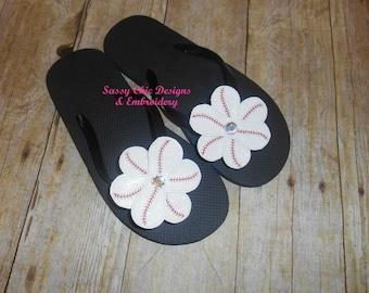 Baseball Bling Flower/Baseball Flip Flops/Boutique Style Baseball Flowers/Bling Flip Flops Hair Clip/Flip Flop Clips/Baseball Flower Clips