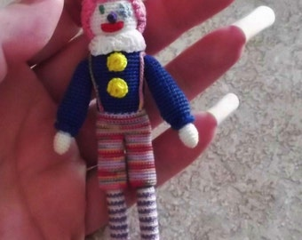 Get it while It Last And Receive Quick Shipping:) One Crochet Item Mini  Happy Clown Doll