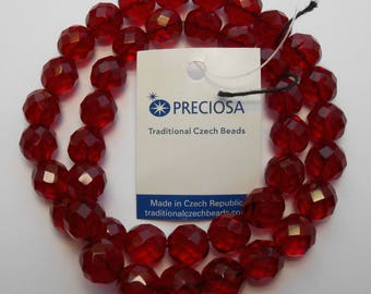 10mm Red Beads Preciosa Garnet Red Czech Glass Faceted Rounds 16 inch Strand 40 Beads