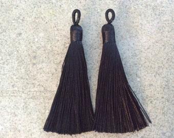 2 pcs black simple silky tassel jewelry making wholesale bohemian supplies wholesale