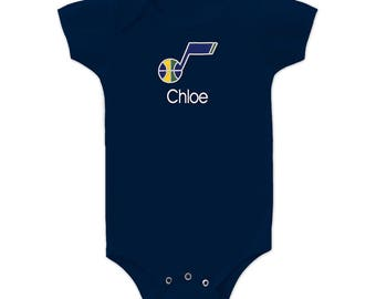 Personalized Utah Jazz Baby Bodysuit Navy