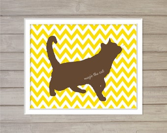 Cat Pet Name Plate Personalized Wall Art Printable - 8x10 - Chevron Digital Poster Wall Art Cat Lover Gift for Cat Owners