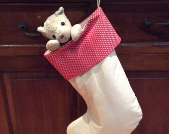 Calico & Red With Small Star Christmas Stockings, Quality Padded and Lined, 55cm Long