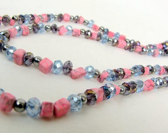 Beaded Necklace ~ Double Strand ~ Pink Marble ~ Blue Glass Crystal ~ Purple Glass Crystal ~ Original ~ 24""