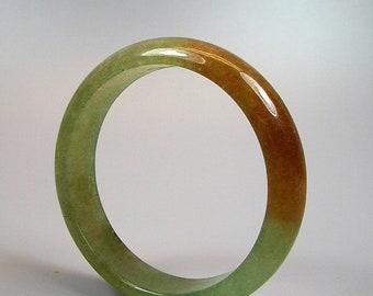 Vintage Natural Green and Russet Jadeite Bracelet Bangle