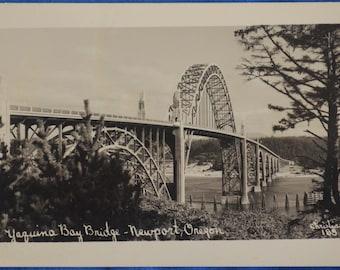 Yaquina Bay Bridge Newport Oregon RPPC Black and White Standard Postcard Unused