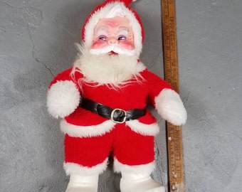 "Vintage Rushton Santa Claus Doll 1950s Rubber Face White Boots 19"" Plush"