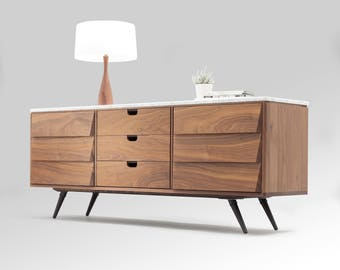 Sideboard / cupboard / credenza in solid board oak / walnut, and marble top