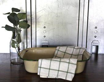 Enamelware Pan with Green Rim
