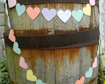 Valentines decorations - Pastel Heart Bunting- Valentines Candy Hearts - Valentines Garland / Paper Hearts Garland / Valentines Photo Prop