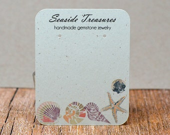 Earring Display Cards Personalized with Your Information - Sandy Beach Seashell Starfish Ammonite - Jewelry Tags | DS033