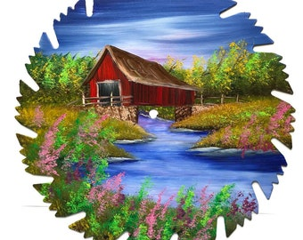Hand Painted Saw Blade Spring  Covered Bridge