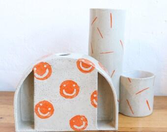 dome sculptural vase - orange smiles