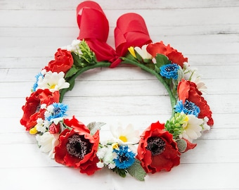 Wreath of wild flowers Flower crown Large Flower Crown Wreath in Ukrainian style Wedding wreath Wedding hair wreath Bridal headpiece