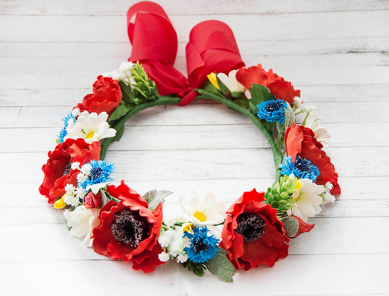 Wreath of wild flowers flower crown large flower crown wreath zoom izmirmasajfo