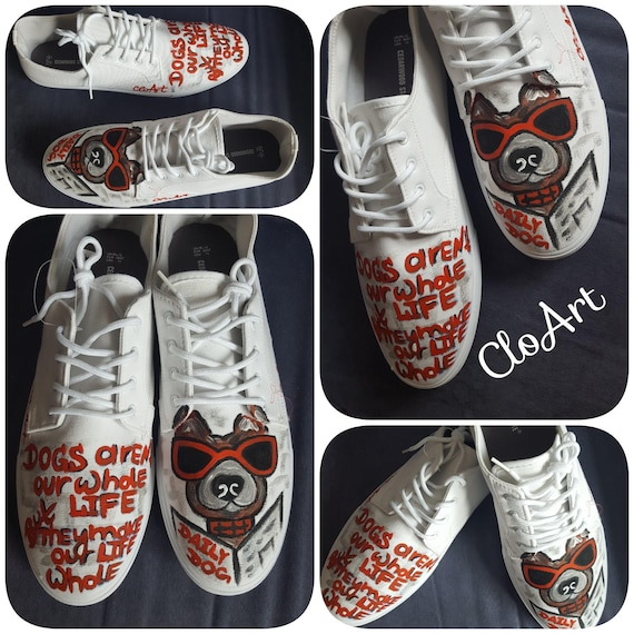 Shirt sneakers Sneakers Hand Dog Hand Shoes Dog Dog Dog shirt Painted Dog Customized and Sneakers Painted Painted Dog Painted T Love t Daily YwOq5z