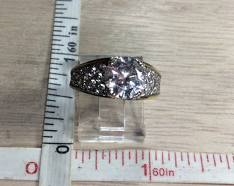 Vintage 925 Sterling Silver 4.7g Gold Washed Cz Ring Size 7 Used