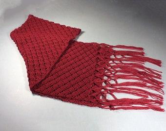 Women's Shawl, Women's Outerwear, Spider Stitch, Crochet, Maroon, 69 Inch, Triple Knot Fringe