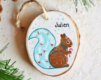 Squirrel Ornament, Custom Christmas Ornament, Name Ornament. Personalized kids Gift. Christmas Gift for Nephew. Woodland Animal Ornaments.