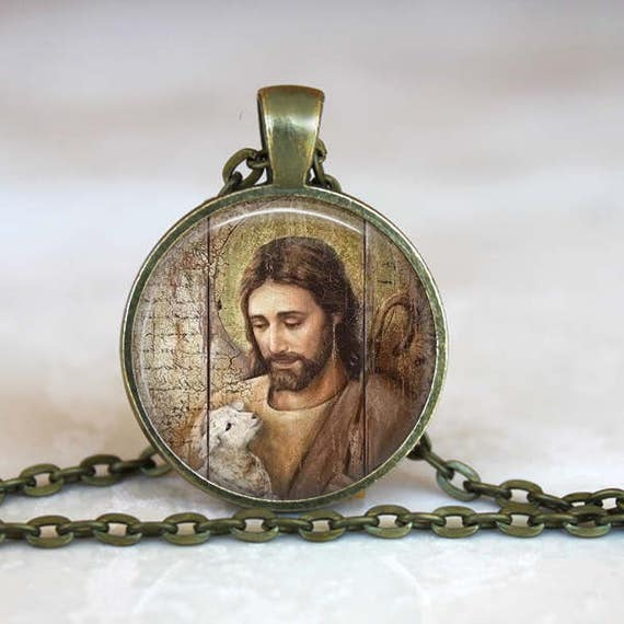 Jesus the Good Shepherd Pendant - with 24 inch oval link necklace - Christian necklace - Jesus with lamb / sheep