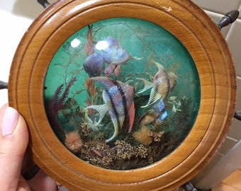 Vintage night light Light up aquarium with fake fish Made in England 1940's