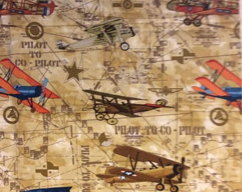 A Wonderful Pilot To Co-Pilot Vintage Airplanes Cotton Fabric by the yard Free US Shipping