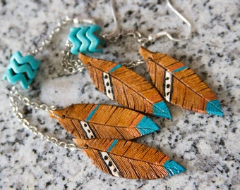 Antique tan with turquoise and copper Leather Feather Earrings