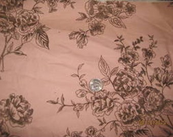 Designer Pink & Brown Flower Baby Wale Corduroy