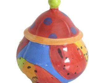 Hand Painted Jar by Michelle Burton Ceramic Artist Vintage Rare Studio Handcrafted 1996 Gift Home Decor Modern Art