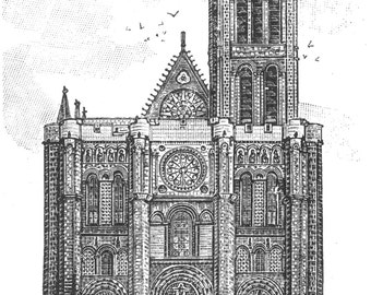 Saint-Denis, France Basilica Church Abbey 1897- Print of a Vintage Engraving, Ready to Frame!
