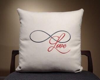 Infinity Home Decor Pillows, Infinity Love, Pillow Saying, Word Pillows, Text Pillows, Quote Pillows, Infinity Pillows, Red and Grey Pillows