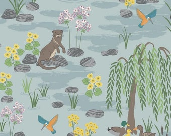 Fabric, Down By The River Light Blue, Lewis and Irene, Otter, Ducks, Weeping Willow, By the Yard