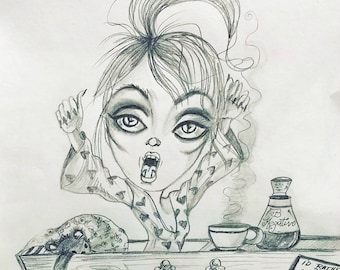 Original Art One Of A Kind Drawlloween Vamp's Morning-Leslie Mehl Art
