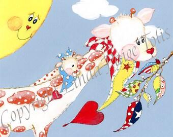 Luxury Baby Nursery Art Print - Linda Paige Tolis- Personalized Giraffe Baby Nursery Art-Luxury Art Print