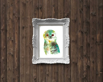Owl Watercolor Painting - art print