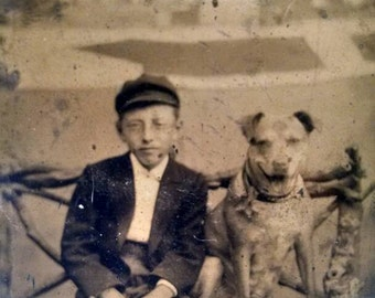 Antique Tintype of Boy With His Best Friend, Wearing Coat, Knickers, and Cool Looking Hat