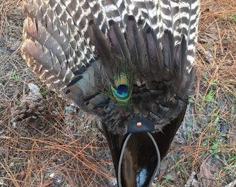 Sacred Ceremonial/Smudge/Dance Fan Full Turkey Wing Mounted on Scapula Bone Handle