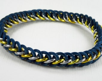 Rubber & Anodized Aluminum Half Persian 3 in 1 Weave Chainmaille Stretch Bracelet